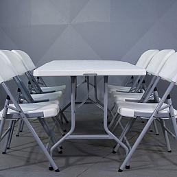 Комплект Стол прямоугольный 180х80 см + 6 стульев пластик